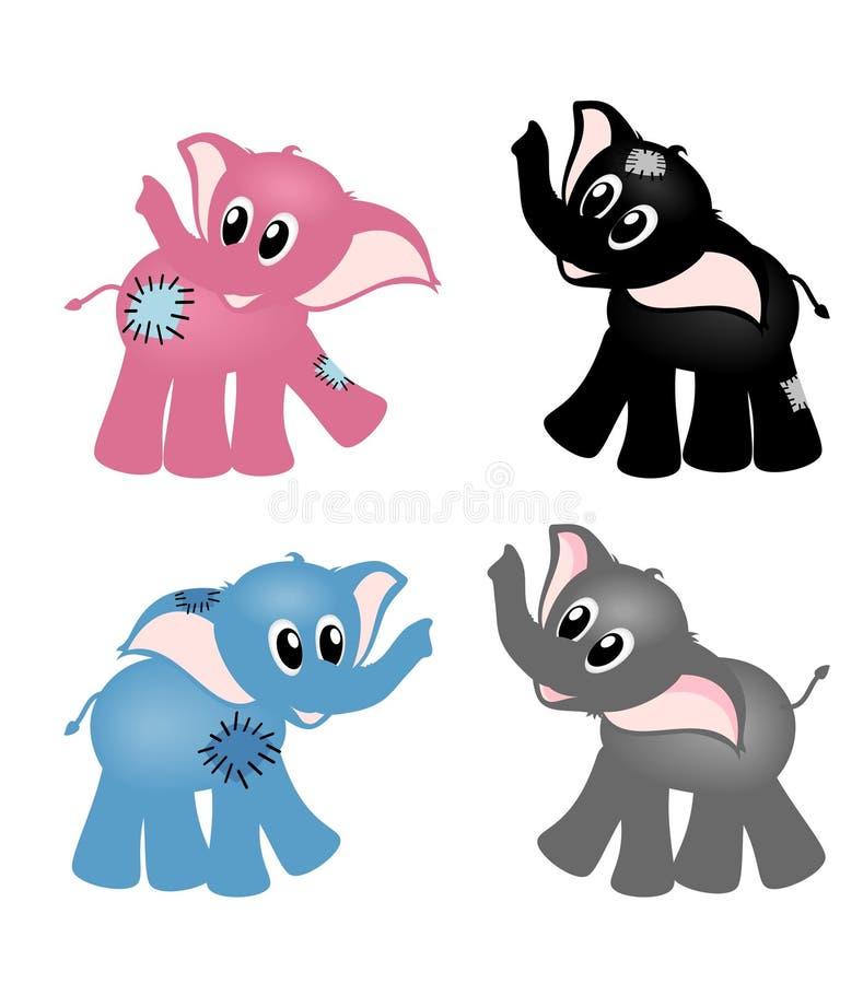 Four cute elephants vector illustration