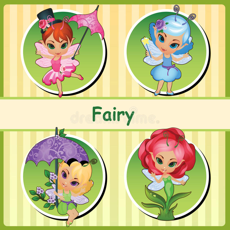 Four cute fairies - pink, blue, purple and Rose stock illustration