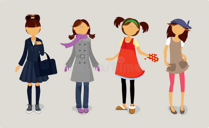 Four cute girls in stylish dresses. stock illustration