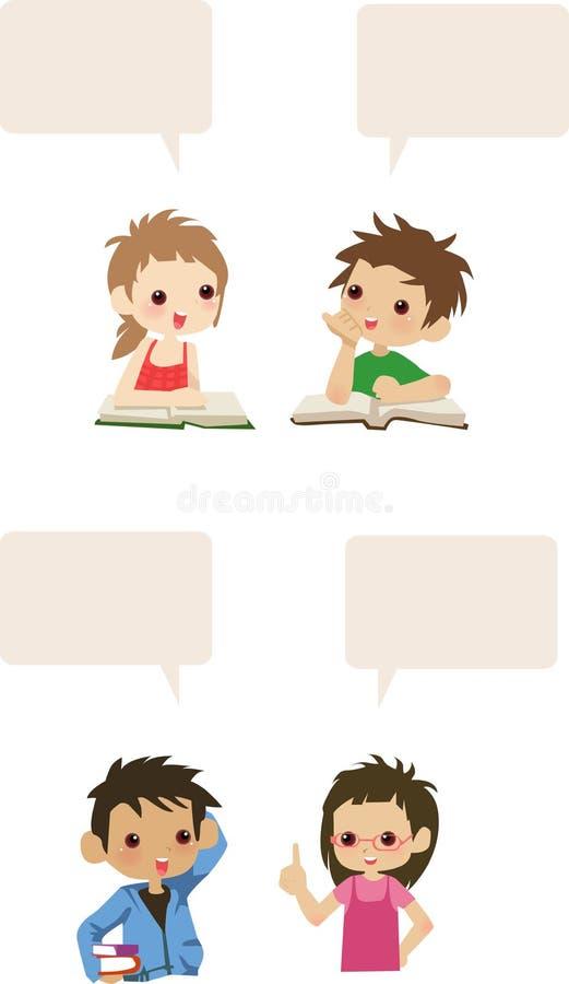Four cute kids talk vector illustration