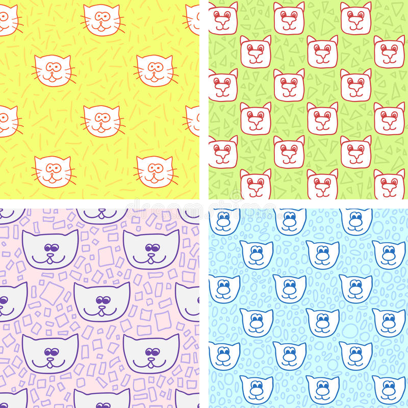 Four cute seamless pattern with cat faces. Endless texture can be used for printing onto fabric, paper or scrap booking, wallpaper, pattern fills, web page royalty free illustration