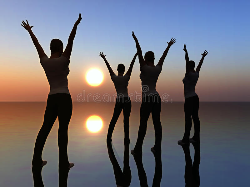 Four dancing women. Digital composition of four women looking at the sunrise dancing full of joy. symbol of success and peace stock illustration