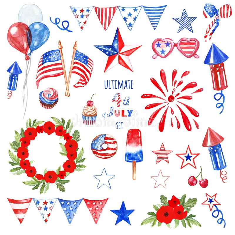 Four de symbolen en de elementen van juli plaatsen in blauwe, rode en witte geïsoleerde kleuren van de vlag van de V.S., Patriott stock foto