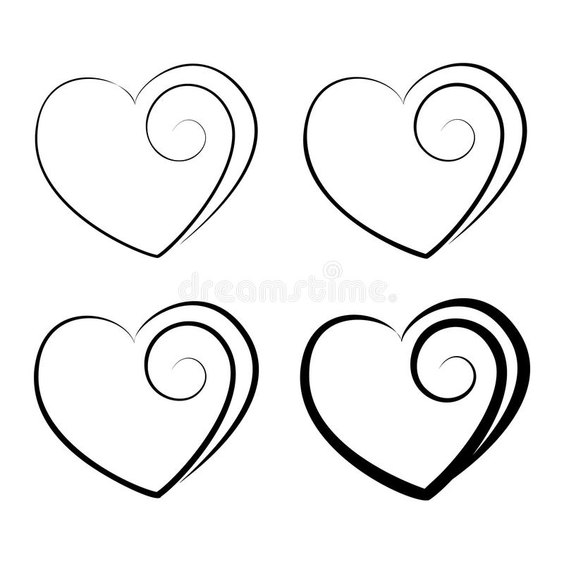 Four decorative vector hearts with different widths of lines. Four decorative vector silhouettes of hearts with different widths of lines royalty free illustration