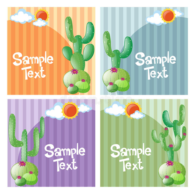 Four design of background with cactus stock illustration