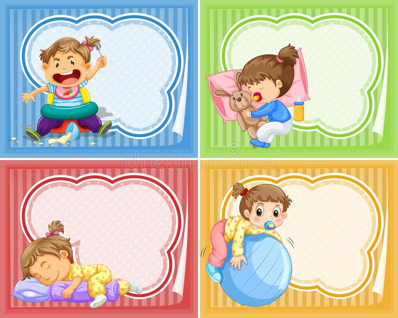 Four designs of banner with babies. Illustration stock illustration