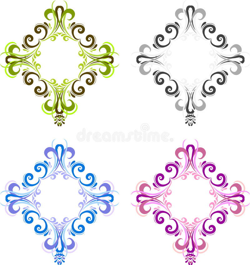Four diamond shaped vintage frame for photos with a square in the center. Black, blue, green and pink. stock illustration