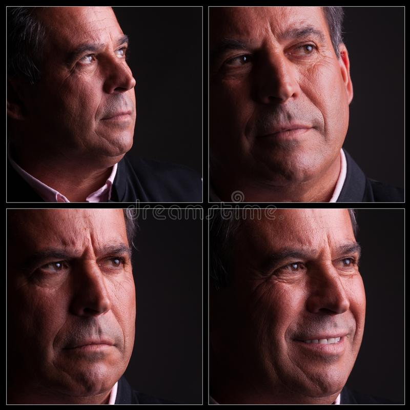 Four diferent expressions of middle aged man royalty free stock photo