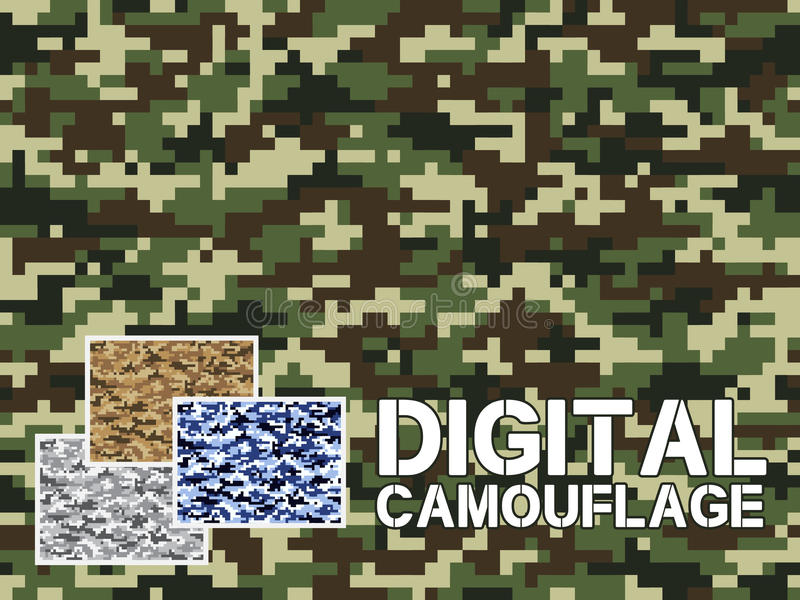 Four different colors digital camouflage military pattern for background, clothing, textile garment, wallpaper || Very easy to use stock illustration