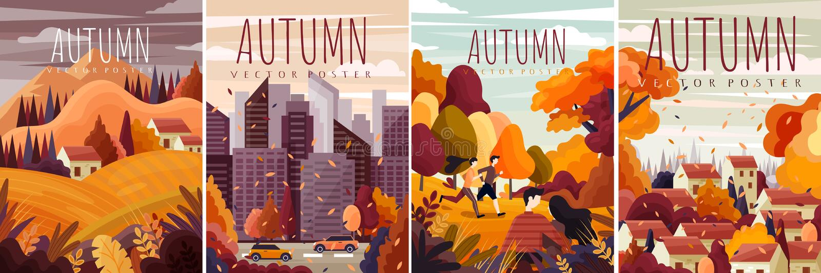 Set of Four different designs for Autumn posters with colorful fall landscapes, cityscape and country scenes in a vector illustration
