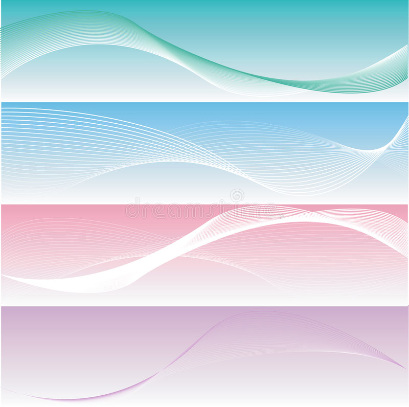 Four different elegant and smooth banners stock illustration