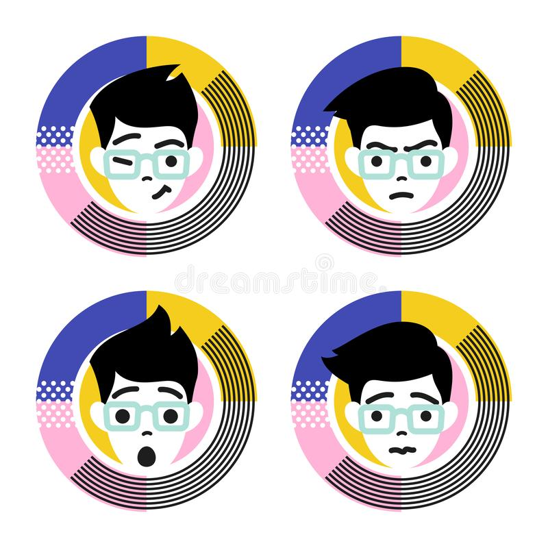 Four different emotions of young male character. Flat style vector illustration stock illustration