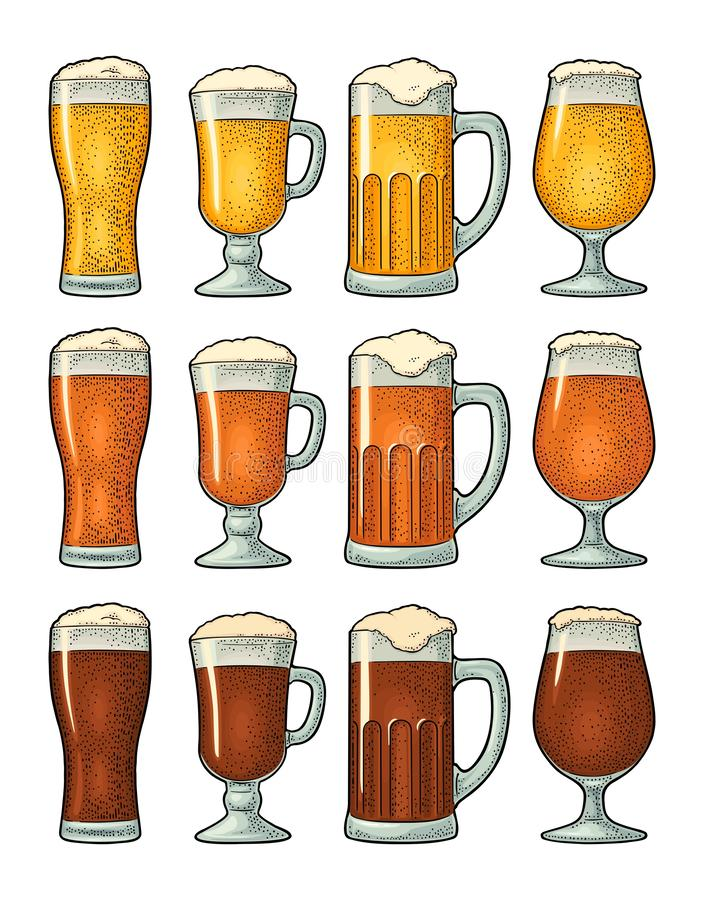 Four different glasses with three types beer. Vintage color engraving. Four different glasses with three types beer - light, red and porter. Vintage color vector stock illustration