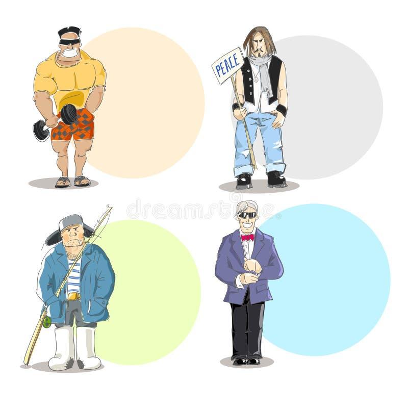 Four different men types stock illustration