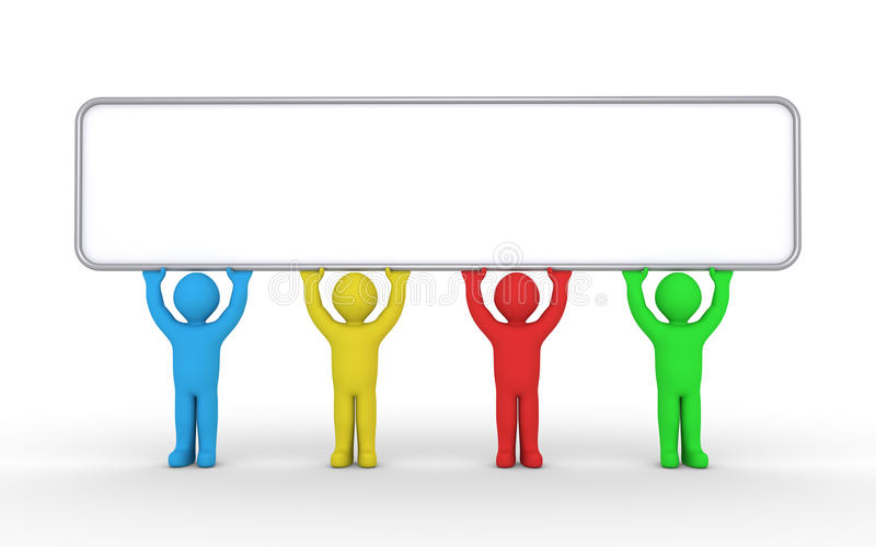 Four different people are holding a blank sign royalty free illustration