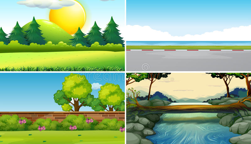 Four different scenes at daytime. Illustration vector illustration
