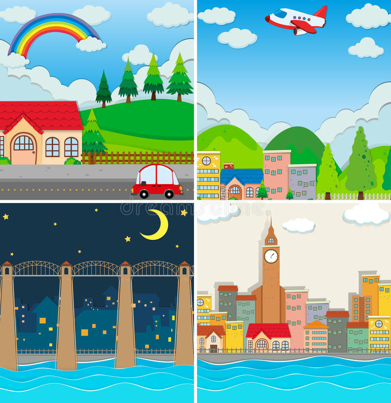 Free Four Different Scenes Of City Royalty Free Stock Photos - 61344658