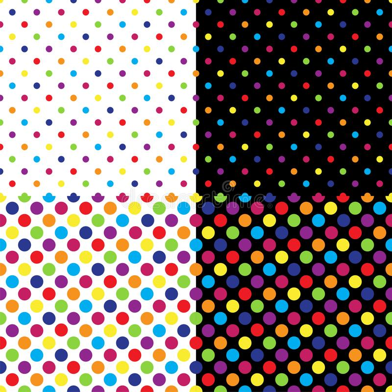 Four different seamless colorful polka dot patterns. Vector illustration. royalty free illustration
