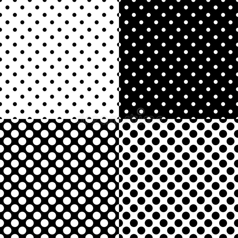 Four different seamless polka dot patterns. Vector illustration. vector illustration