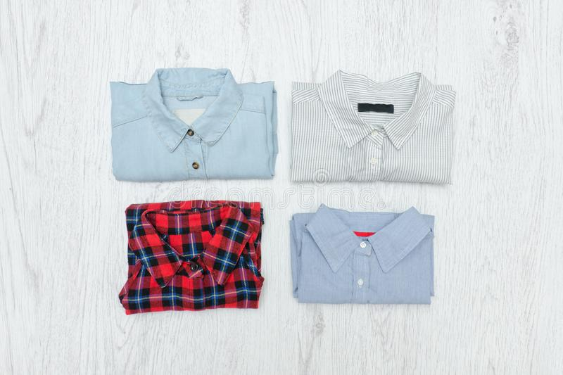 Four different shirts. Fashionable concept. Assortment.  royalty free stock images