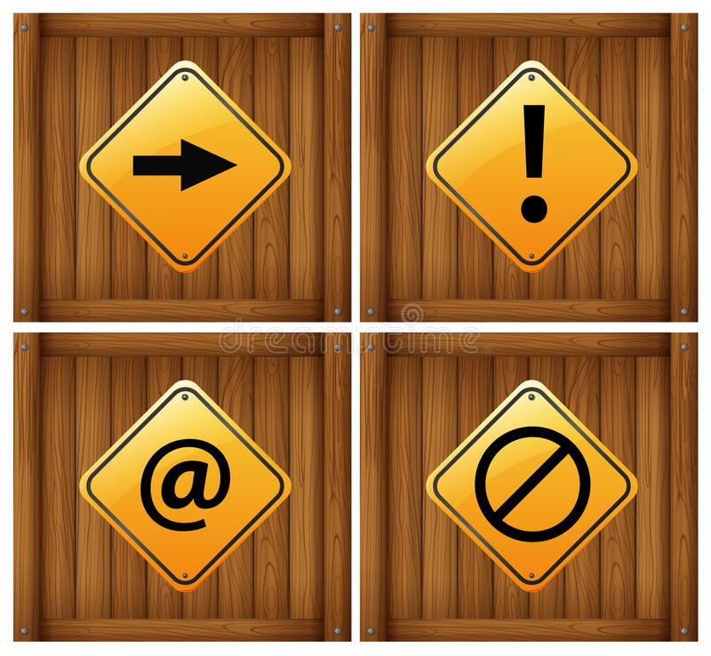 Four different signs stock illustration