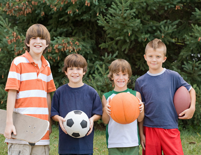 Download Four Different Sports stock photo. Image of group, holding - 6309578