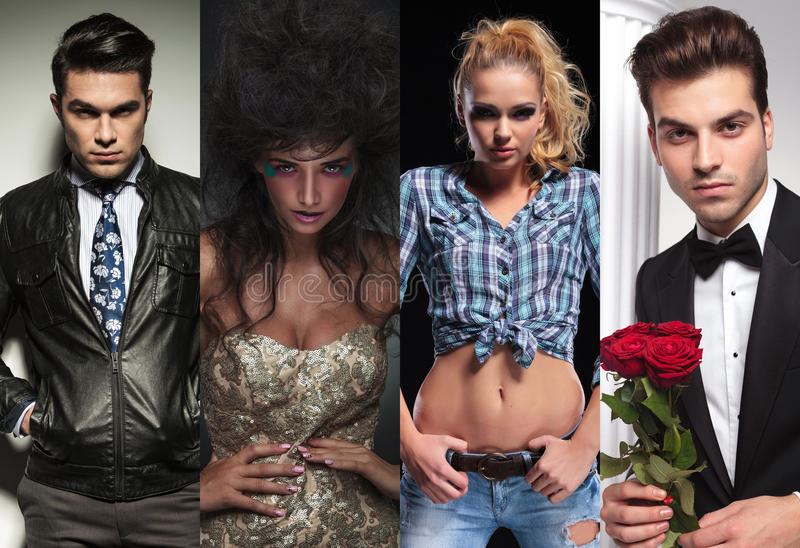 Four different styles of young people. Collage image of four different styles of young people royalty free stock image