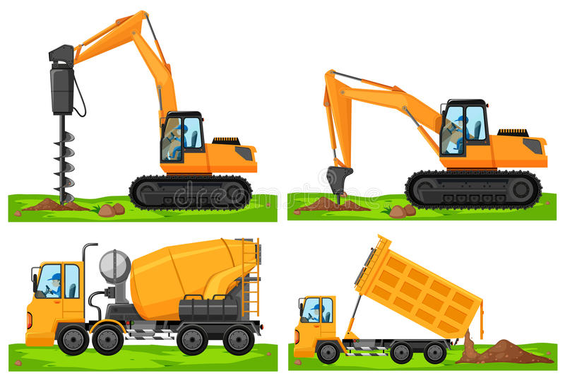 Four different types of construction vehicles stock illustration