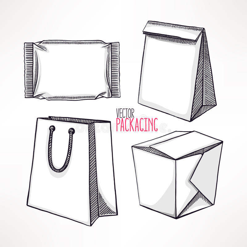 Four different types of packaging royalty free illustration