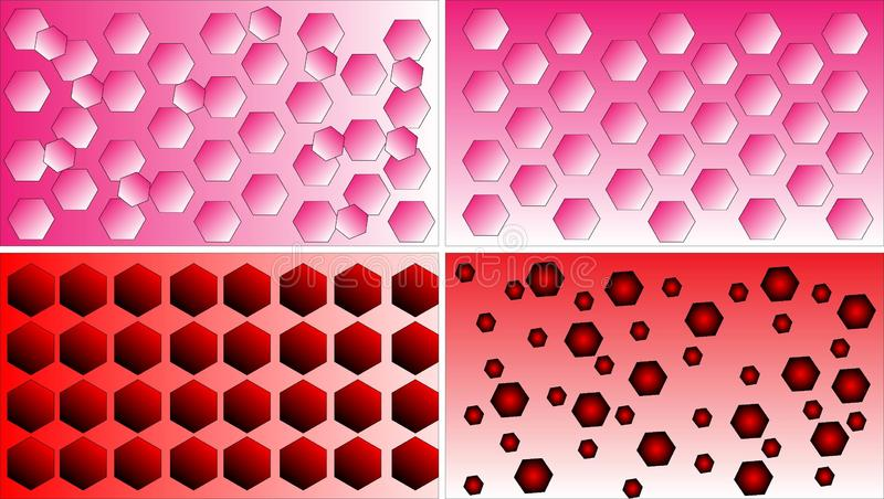 Four differentred, pink and white polygon pattern background vectors. Four different red, pink and white polygon pattern background vectors. Abstract designs stock illustration