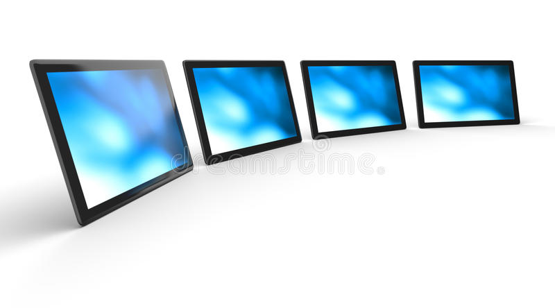 Four digital screens. Four digital, LED, plasma or HDTV screen displays with blue images isolated on white stock illustration