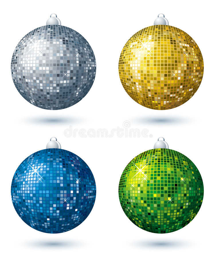 Download Four  disco balls, vector stock vector. Image of knick - 3671454
