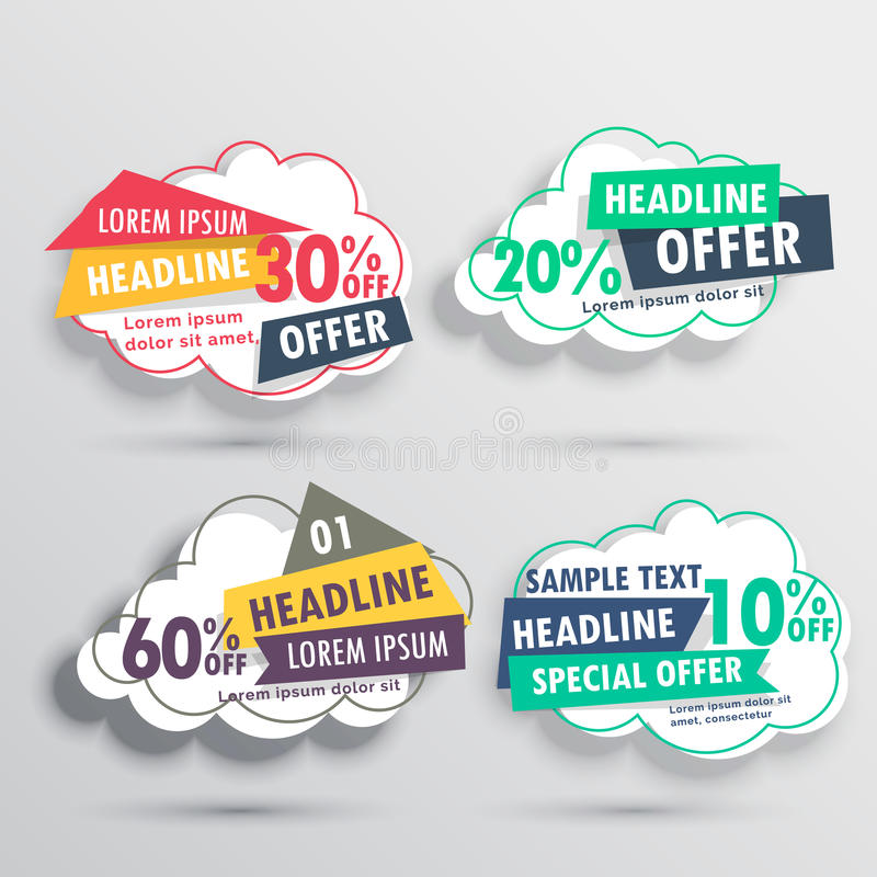 Four discount vouchers with cloud shape. EPS10 vector background stock photography