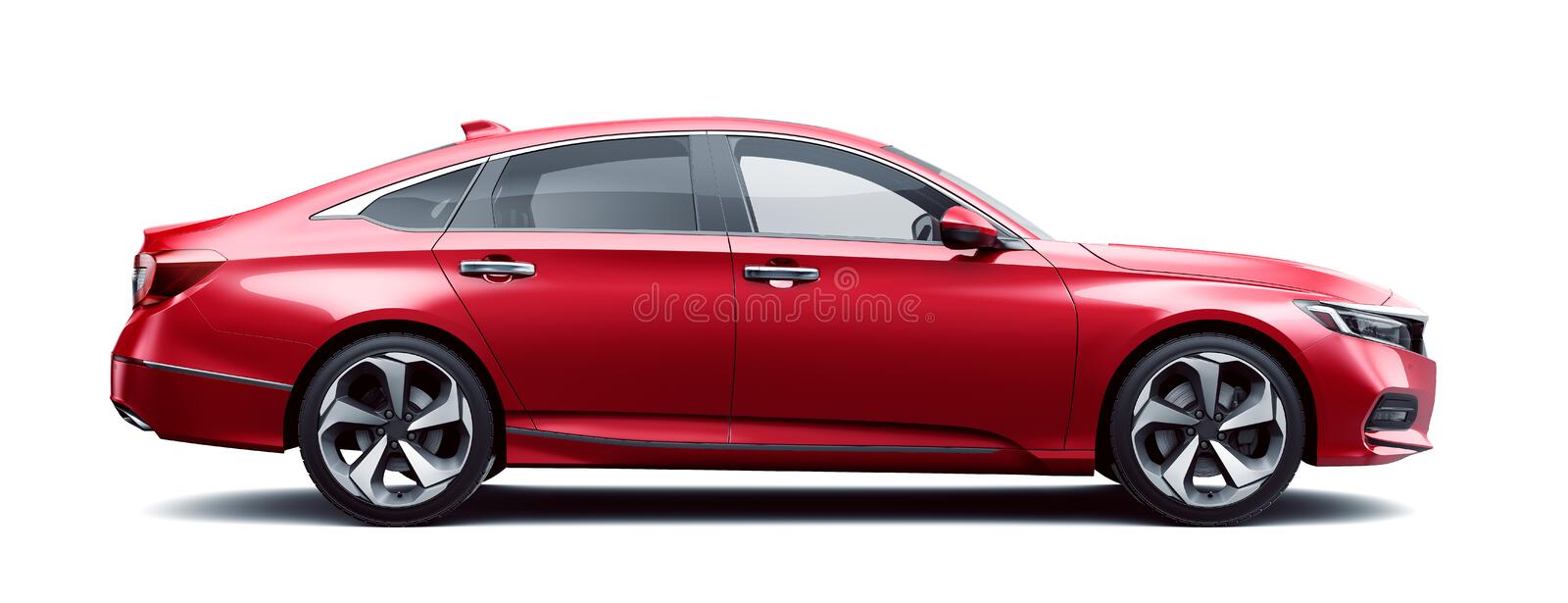 Four door car isolated on white background. 3d render royalty free stock photos