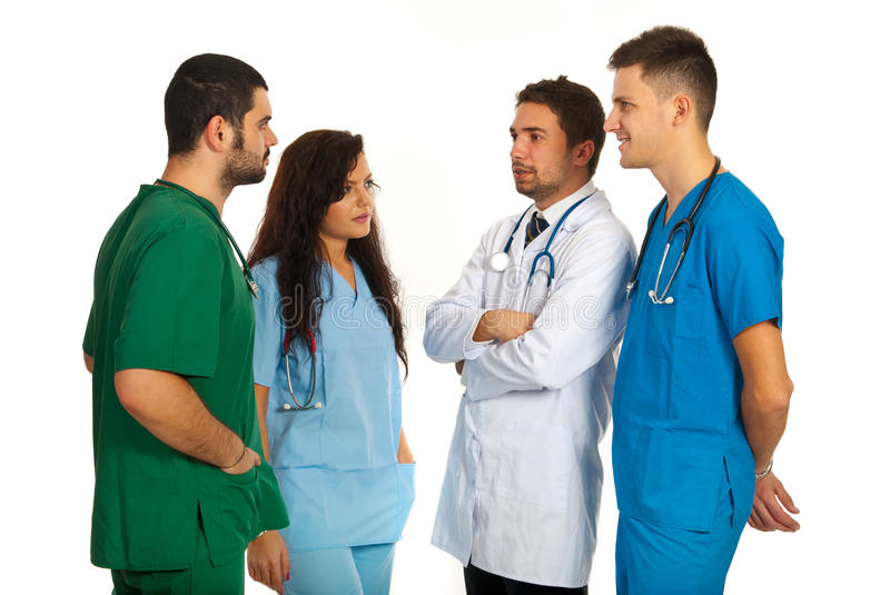 Download Four Dosctors Having Discussion Stock Photo - Image of conversation, clinic: 28277048