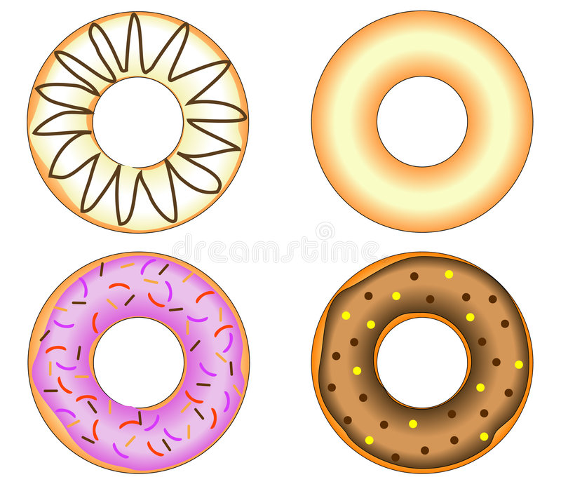 Download Four Doughnuts With Colorful Glazing Stock Vector - Illustration: 8931081