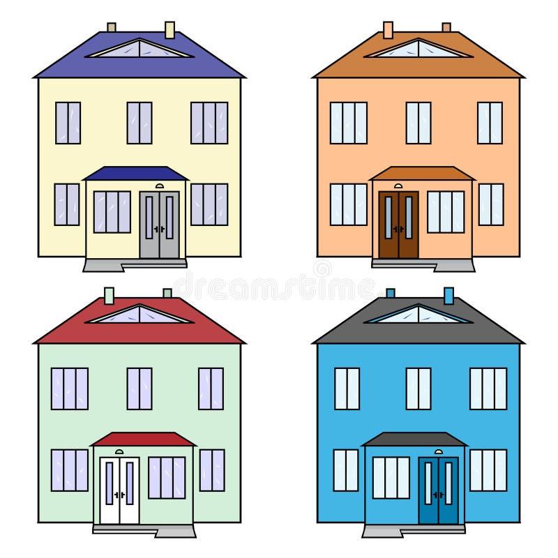 Dwelling houses icons set. Four dwelling houses yellow, orange, green, blue icons set royalty free illustration