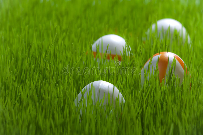 Four Easter eggs on green grass royalty free stock image