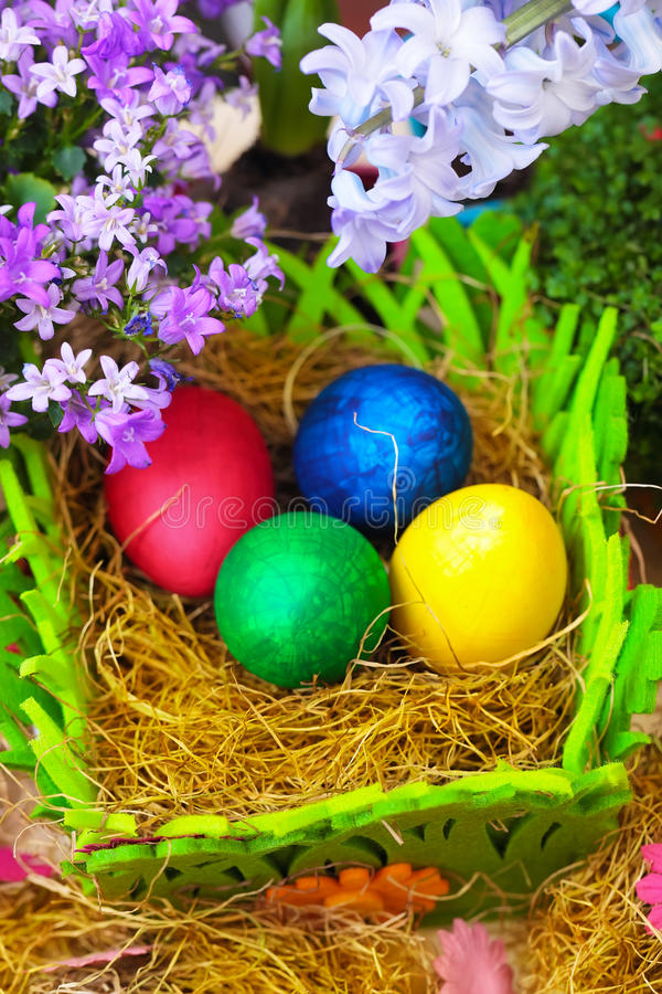 Four easter eggs, vertical composition stock photo