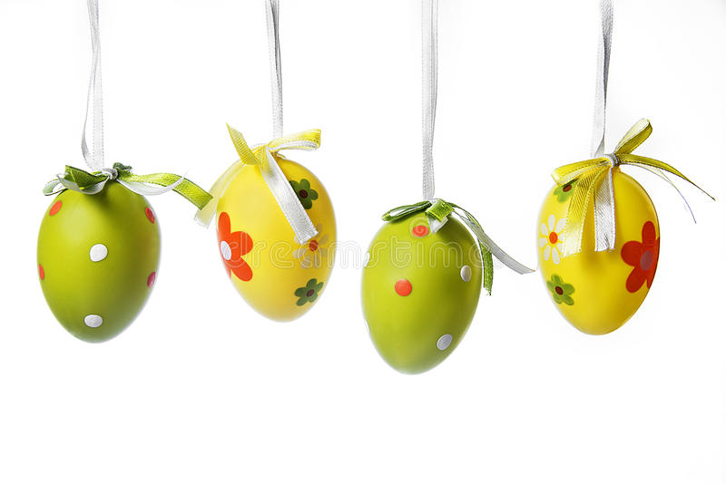 Four Easter eggs. On a white background royalty free stock image