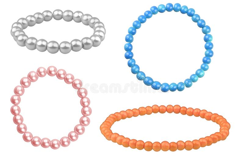 Four elastic bracelets made of pearl-like round beads & x28;silver, blue, orange and pale pink& x29;, isolated on white stock photos