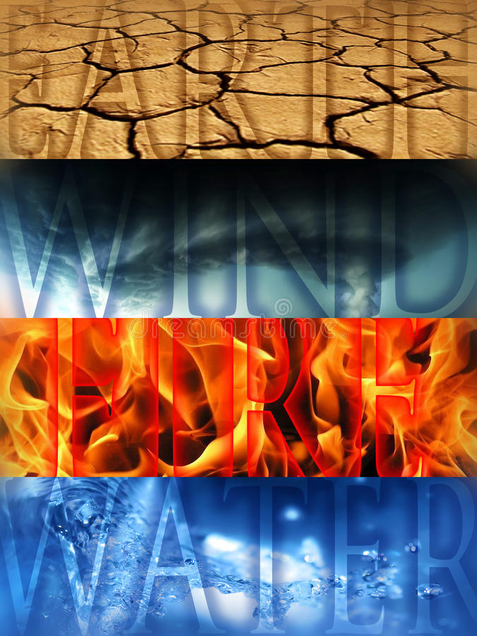 Four Elements. The Four Elements - Earth, Wind, Fire, Water royalty free stock photo