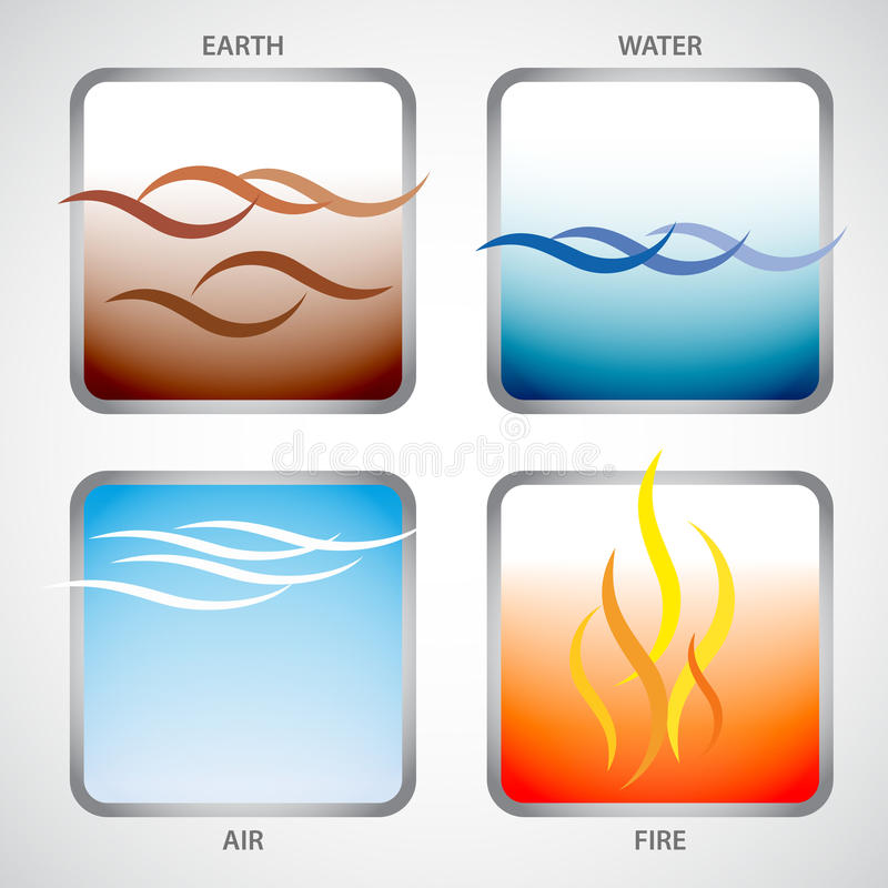 The four elements: earth, water, air and fire royalty free illustration