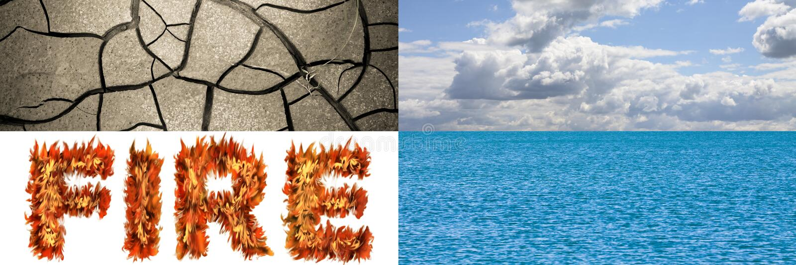 The four elements in nature: earth, air, fire, water - concept image with copy space royalty free stock photo