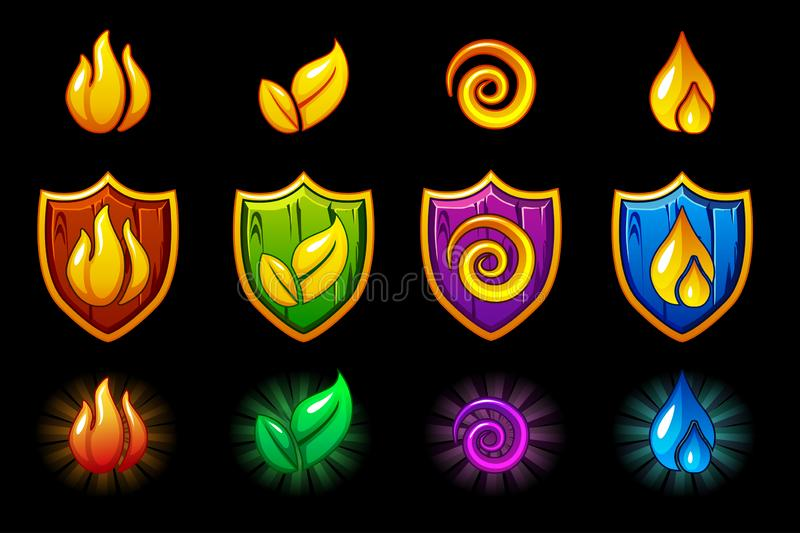 Four elements nature icons, wooden Shield set. Wind, fire, water, earth symbol vector illustration