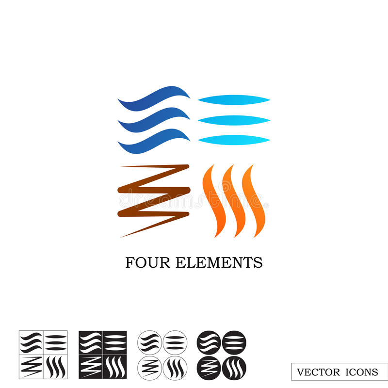 Four elements of nature. Linear icons. vector illustration