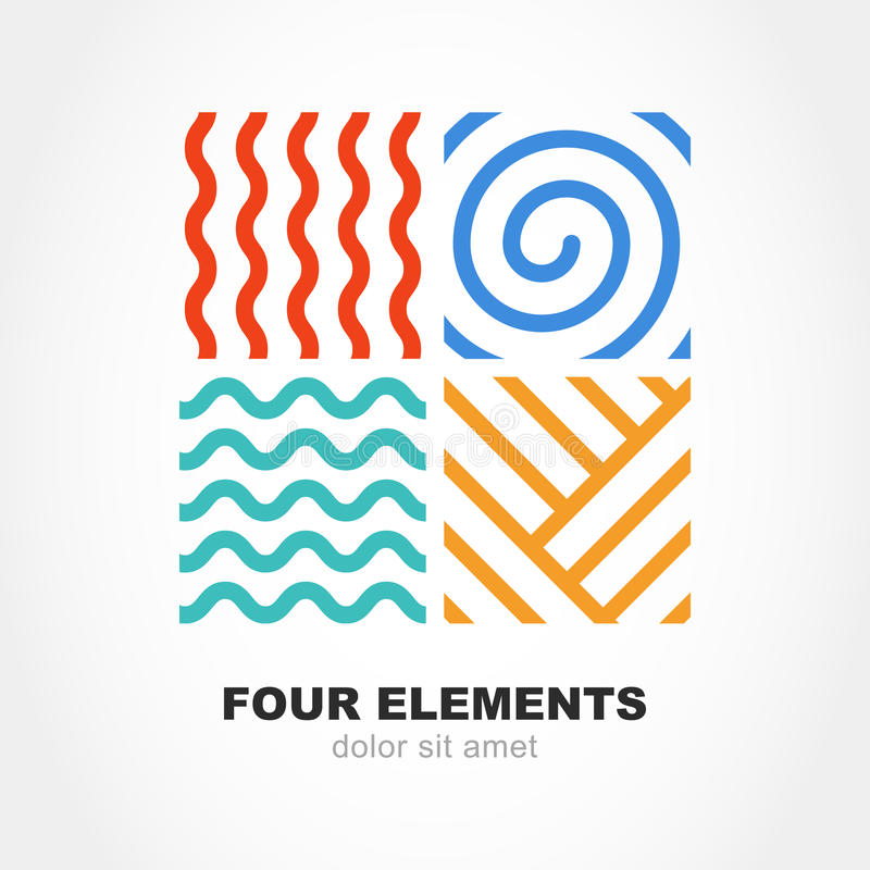 Four elements simple line symbol. Vector logo template. Abstract. Design concept for nature energy, tourism, travel, business, synergy. Fire, air, water and stock illustration