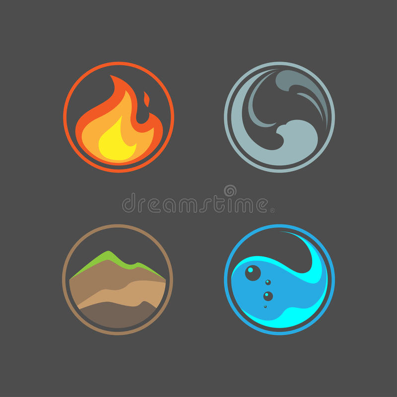 Four elements. In vector on gray background royalty free illustration