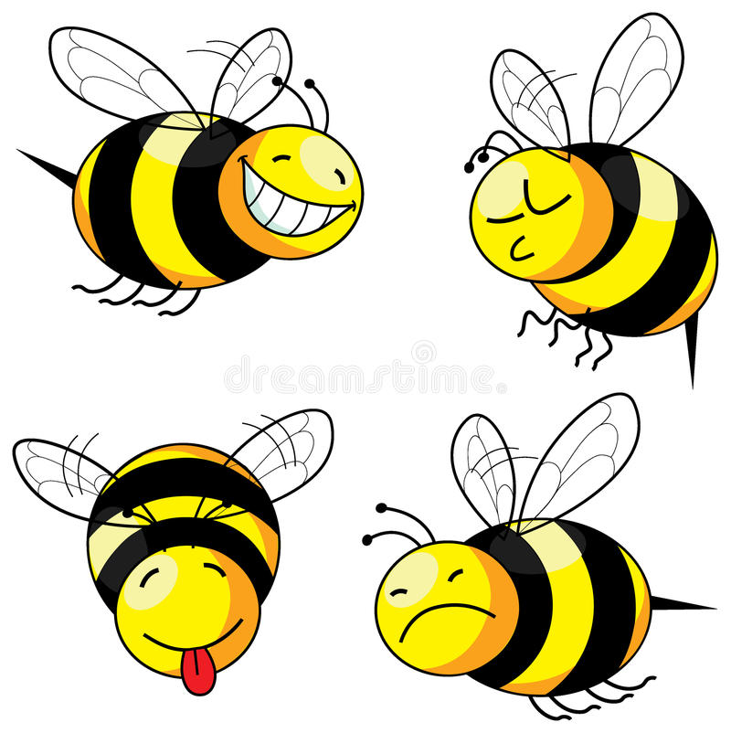 Four emotion bee comic stock illustration
