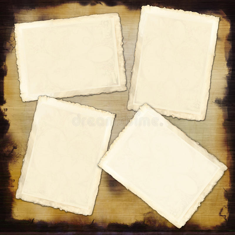 Four empty vintage paper sheets on a wood bench royalty free stock photography